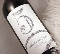 Table Number Wine Label 1-10...Faux Glitter
