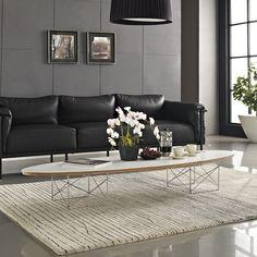 "Mid Century Modern Elliptical ""Surfboard"" Coffee Table White"