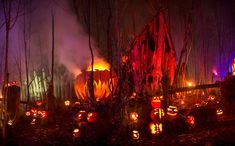 Enter the Halloween House; Enjoy spooky inspirations for your own personal Haunt. Halloween Party Games, Creepy Halloween, Spirit Halloween, Halloween Pumpkins, Happy Halloween, Halloween Decorations, Halloween Ideas, Halloween Haunted Houses, Halloween House