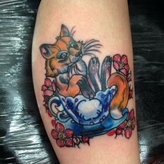Newest edition #tattoo #fox #foxinateacup