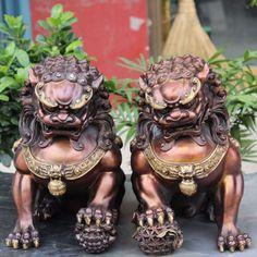 "12"" Tibet Classical Bronze Gilt Foo Fu Dog Guardian Door Lion Ball Statue Pair"