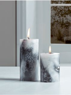 Marble Pillar Candles Handmade from high quality unscented wax, our collection of candles are soft white with exquisite black marbling, creating a beautiful contemporary accent in your living space. Light to create a warm glow, or display unused to prese Pillar Candles Bulk, Diy Candles, Lantern Candle Holders, Candle Stand, Marble Pillar, Bathroom Candles, Lighting Uk, Decoupage, Handmade Candles
