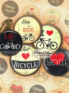 Bicycle  Digital Printable Sheets Cabochon images by PrintCollage