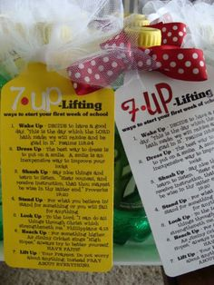 Love this! 7-UP lifting things. Great visiting teaching or YW's idea