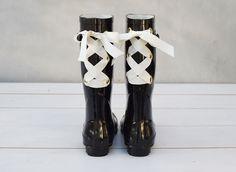 DIY Grommets & Ribbon Gumboots