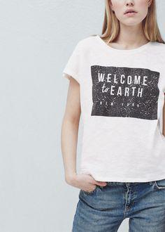 Camiseta algodón estampada - Camisetas de Mujer | MANGO