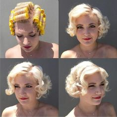 "Vintage Hair ""Vintage roller set placement I did today on ✌️ Cabelo Pin Up, Peinados Pin Up, Pelo Retro, Retro Hairstyles, Vintage Hairstyles Tutorial, Vintage Hair Tutorials, Roller Set Hairstyles, 1920s Hair Tutorial, Wedding Hairstyles"