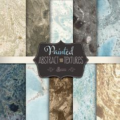 Abstract Painted Textures: 10 Digital Paper Pack. Textured, grungy, distressed, stone, marble, scrapbooking.
