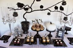 Decorating. Cool Halloween Interior Decor Inspiration. Terrific Halloween Interior Decoration Come With Rectangular Black Cake Stand And Round Black Cake Stand Plus Black Vase Together With Black Crow Halloween Decoration Also White Pumpkin Plus White Tablecloth And Also Silver Candelabra Also Silver Candle