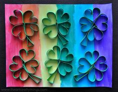 Rainbow Four-Leaf Clover Art is one of the best painting projects for kids to make if they want to feel a little lucky for St. Not only is this St. Patrick's Day craft idea easy to make; Preschool Arts And Crafts, Kindergarten Art Projects, Easy Arts And Crafts, Kids Crafts, St Patricks Day Crafts For Kids, Recycled Art Projects, Toilet Paper Roll Crafts, Four Leaves, Quilling Patterns