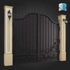 Buy Gate 014 by ThemeREX on High quality polygonal model of gate.max Max 2010 for separate models .max Max 2010 for . Gate Wall Design, House Main Gates Design, Steel Gate Design, Front Gate Design, Iron Garden Gates, Privacy Fence Designs, Balcony Railing Design, Custom Gates, Window Grill Design