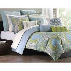 Sardinia Duvet features a chic over-scale paisley print in a palette of fresh colors which will surely add excitement to any bedroom.  Cover reverses to a mini all-over geometric pattern.  Coordinating pieces available separately.