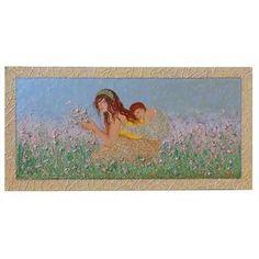 """Quadri per camera da letto """"Maternità tra i fiori tonalità chiare"""" Dal quadro originale, nasce la versione con i colori chiari, per ambienti più delicati e raffinati. Lo sfondo è sempre paesaggistico, ma con fiorellini tenui che avvolgono le figure della mamma con il bambino. Dim 60x120"""