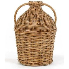 Bay Isle Home This French Country Double Rattan Basket is a reproduction of a wine jug from the this double handled wine jug is made from all natural rattan. Revere Pewter, Farrow Ball, Fancy Bows, Green Glass Bottles, French Collection, Rattan Basket, Rustic Elegance, Baskets On Wall, Dining Room Design
