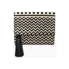 Rebecca Minkoff Sol Foldover Clutch ($75) ❤ liked on Polyvore featuring bags, handbags, clutches, fold over handbag, foldover handbags, print purse, summer handbags and tassel purse