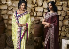 This brasso saree in lemon yellow color  is looking unique with pink color border patta. AND Maroon color chiffon material  saree with golden embroidered work on border is  giving  truly Indian look