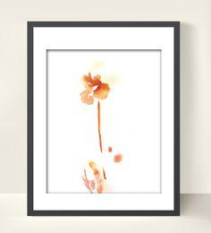Minimalist Flower, 8x10 Art Print of Original Watercolor Painting, Abstract Orange Wall Art #etsy #gifts
