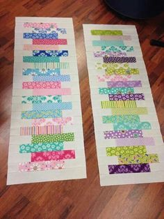 New Sewing Table Runners Jelly Rolls Ideas Patchwork Table Runner, Table Runner And Placemats, Table Runner Pattern, Quilted Table Runners, Jelly Roll Quilt Patterns, Patchwork Quilt Patterns, Quilting Patterns, Quilting Projects, Quilting Designs