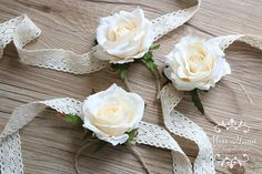 Rustic Vintage Wrist corsage Wrapped In Lace Ivory white