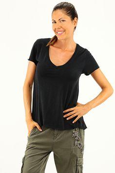 American Vintage - T-Shirts - Abbigliamento - T-Shirt in cotone con scollo a V e manica corta. - NOIR - € 45.00