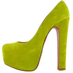Christian Louboutin Daffy 160mm Suede Chartreuse Pumps