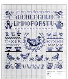 0 point de croix abécédaire bleu poules - cross stitch blue  alphabet chicken