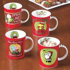 Peanuts Gang Mug Set  Start your mornings with your favorite Peanuts character! These stoneware mugs festively capture iconic holiday moments in the lighthearted style of Charlie Brown, Snoopy and the Peanuts gang.