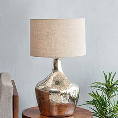 Glass Shade Drum Table Lamp