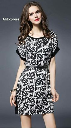 y white/black geometric print belted dress here, find your mini dresses at dezzal, huge selection and best quality. Simple Dresses, Cute Dresses, Beautiful Dresses, Casual Dresses, Short Sleeve Dresses, Formal Dresses, Dress Outfits, Fashion Dresses, Royal Clothing