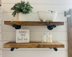 Rustic Pallet shelf with 2 shelves and pre-drilled | Etsy Industrial Floating Shelves, Floating Shelf Decor, Industrial Shelving, Pipe Shelves, Pallet Shelves, Wooden Shelves, Rustic Bathroom Decor, Boho Bathroom, Farmhouse Decor