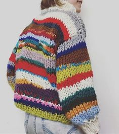 Rainbow Scrap Yarn Sweater on Ravelry - - This sweater has been a special one for me; it is probably the most life-changing piece of clothing I will ever own. I stumbled upon the free Let's Do This sweater pattern when scrolling through I. Knitting Designs, Knitting Projects, Knitting Tutorials, Knitting For Beginners, Free Knitting, Vogue Knitting, Pulls, Diy Clothes, Crochet Clothes