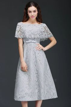 ALEXIS | A Line Off Shoulder Tea-Length Lace Homecoming Dresses With Sash | www.babyonlinewholesale.com