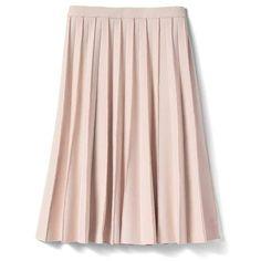 Pleated Midi Skirt   | Banana Republic ❤ liked on Polyvore featuring skirts, knee length pleated skirt, pink skirt, banana republic, mid calf skirts and pink midi skirt