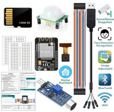 ✔️ESP32-CAM Arduino Kits: When someone approaches or there is noise,the kit wakes up,takes a candid photo,and the image is saved in the SD card.It's a web camera,access camera streaming server on local network,with live image,face detection and face recognition functions(You can integrate it to Home Assistant).Program developed with Arduino IDE ✔【ESP32-CAM】:with 2 Million Pixels built-in flash Camera and SD card slot is WIFI&Bluetooth 4.2 dual-mode development board,PCB on-board antennas and… Arduino Projects, Electronics Projects, Arduino Home Automation, Cable Management System, Portable External Hard Drive, Carte Sd, Mini Itx, Usb, Best Computer