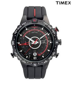 Timex - In Stock! - Mens Timex Intelligent Quartz Tide-Temp Compass watch in black Ion-plated steel and rubber, featuring backlight and date function. Amazing Watches, Cool Watches, Watches For Men, Beautiful Watches, Men's Accessories, Rugged Watches, Rolex, Timex Indiglo, Timex Expedition