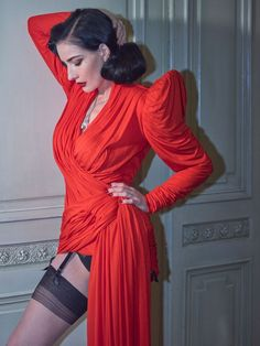 Dita Von Teese photographed by Greg Swales, Dita Von Teese Style, Dita Von Teese Burlesque, Celebrities In Stockings, Dita Von Tease, Stocking Tops, Stockings And Suspenders, Old Hollywood Glamour, Casual Street Style, Victorian Fashion