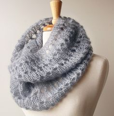 .cowl . looks like you cast on about 80 stiches and purl one row, knit one row, purl one row, then next row k1, (yo, k2tog) repeat until you reach the end of the round row. Then repeat P row, K row, P row, then pattern row. Cont. to work this pattern until the cowl is the desired height. Bind off loosely. Use kid silk haze yarn.