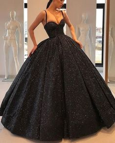 Black Glitter Ball Gown Prom Dresses Corset Back Long Formal Party Dress · KProm · Online Store Powered by Storenvy Cute Prom Dresses, Elegant Prom Dresses, Black Prom Dresses, Formal Evening Dresses, Black Quinceanera Dresses, Wedding Dresses, Elegant Ball Gowns, Sexy Dresses, Corset Prom Dresses