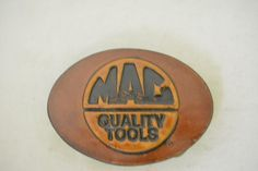 Mac Quality Tools Brown Leather 1983 Great American Buckle Vintage Belt Buckle