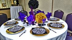 Purple Gold Black and White Table Decor