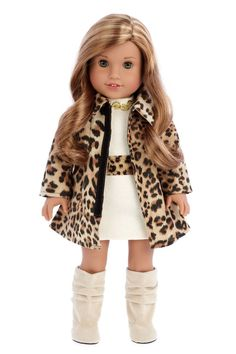 inch doll Fashion Girl - Clothes for 18 inch American Girl Doll - Cheetah Coat, Ivory Dress, Boots – Dreamworld Collections American Girl Outfits, Ropa American Girl, American Girl Dress, American Doll Clothes, Ag Doll Clothes, Doll Clothes Patterns, American Dolls, Doll Patterns, Dress Patterns