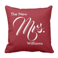 Custom Ruby Red The New Mrs. Bride Throw Pillow - script gifts template templates diy customize personalize special