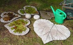 Beautiful #gardensteppingstones or #birdbath from DIY concrete rhubarb leaves