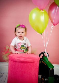 First Birthday Girl Green Tractor John Deere Pink by whimsytots, $33.50