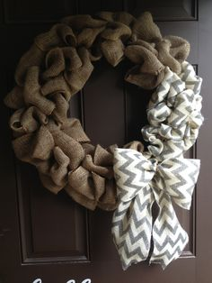 Burlap wreath decorating idea - no tutorial, but i used another tutorial and figured it out!