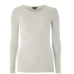 Dorothy Perkins Grey Long Sleeve Crew Neck T-Shirt (€11) ❤ liked on Polyvore featuring tops, t-shirts, grey, long sleeve cotton t shirts, crew t shirts, crew neck long sleeve t shirt, long sleeve t shirts and long sleeve grey t shirt