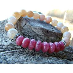 10mm Peach Fire Agate, Ruby Quartz, Gemstone Bracelet, Stretch... ($35) ❤ liked on Polyvore featuring jewelry, beaded jewelry, ruby jewellery, gem jewelry, stone jewelry and gemstone jewelry