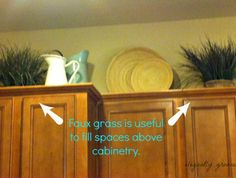 Above kitchen cabinet decorating for that extra space so many people struggle to fill.