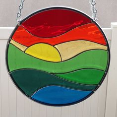 Stained Glass Sunset Over Water Suncatcher by FoxStainedGlass