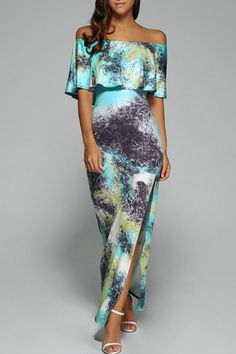 Off The Shoulder Slit Maxi Dress. Perfect for honeymoon and romantic getaways. Item Specifics: Style: Bohemian Material: Polyester Silhouette: Sheath Dresses Length: Ankle-Length Neckline: Off The Shoulder Sleeve Length: Long Sleeves Pattern Type: Print Shipping: Ships in 3-5business days Shipping Policy - Return Policy